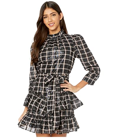 La Vie Rebecca Taylor Long Sleeve Lame Plaid Dress (Pink Cloud Combo) Women