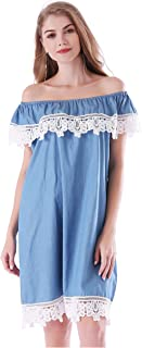 Women's Lace Off Shoulder Denim Ruffles Shift Loose Mini Dress
