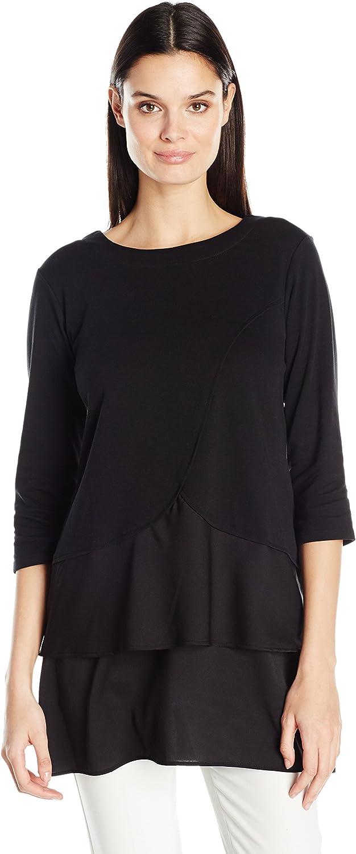 Joan Vass Womens Cotton Interlock Tunic with Woven Hem TShirt