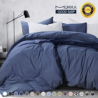 MUKKA 3-Piece Cotton Duvet Cover Set Queen,Yarn Dyed Denim Blue Chambray, 100% Natural Washed Cotton, Modern Style Bedding Set Relaxed Soft Feel Natural Wrinkled Look with YKK Zipper and Corner Ties