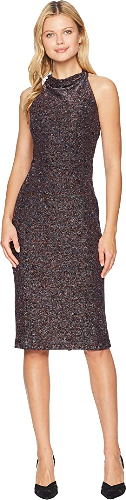 Multi Metallic Knit Cowl Neck Midi Sheath Dress