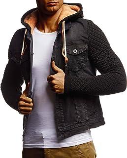 Leif Nelson Heren jeansjas zwart jeans jas voor mannen vrijetijdsjas overgangsjas met capuchon hoodie verwassen casual sli...