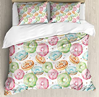 Ambesonne Watercolor Duvet Cover Set, Delicious Donuts Pattern with Various Flavors Sprinkles Stars Background, Decorative 3 Piece Bedding Set with 2 Pillow Shams, Queen Size, Pale Fern