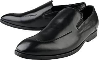 Kanprom Men's Black Genuine Leather Formal Slip On Shoes