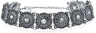 Bling Jewelry Native American Style Coachella Festival Concho Wide Choker Necklace for Women for Teen Silver Tone Metal Adjustable