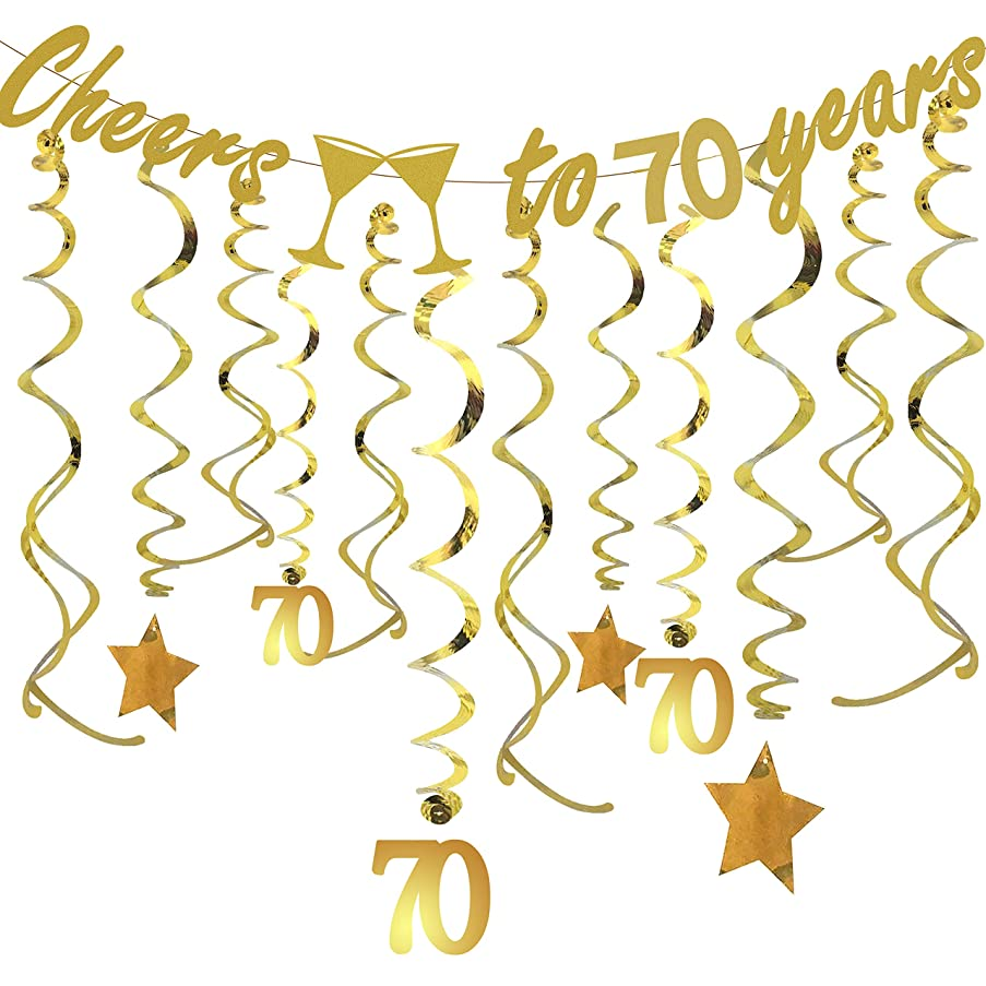Tuoyi Gold 70th Birthday Party Decorations KIT - Cheers to 70 Years Banner, Sparkling Celebration 70 Hanging Swirls, Perfect 70 Years Old Party Supplies 70th Anniversary Decorations