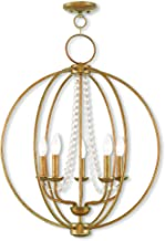 Livex Lighting 40915-48 Arabella 5 Light Antique Gold Leaf Chandelier