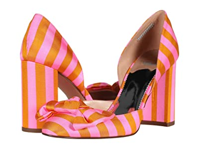 J.Crew Tie Stripe Two-Pieced Bell Pump (Bubble Gum Marigold) High Heels