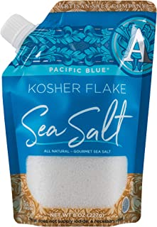 SaltWorks Pacific Blue, Kosher Flake Sea Salt, Pour Spout Pouch, 8 Ounce
