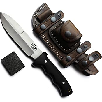 GCS Handmade Bushcraft, Survival, Tactical, Hunting, Camping Knife with Grippy Black Micarta Handle D2 Tool Steel Brown Leather Sheath & Sharpening Stone GCS 115