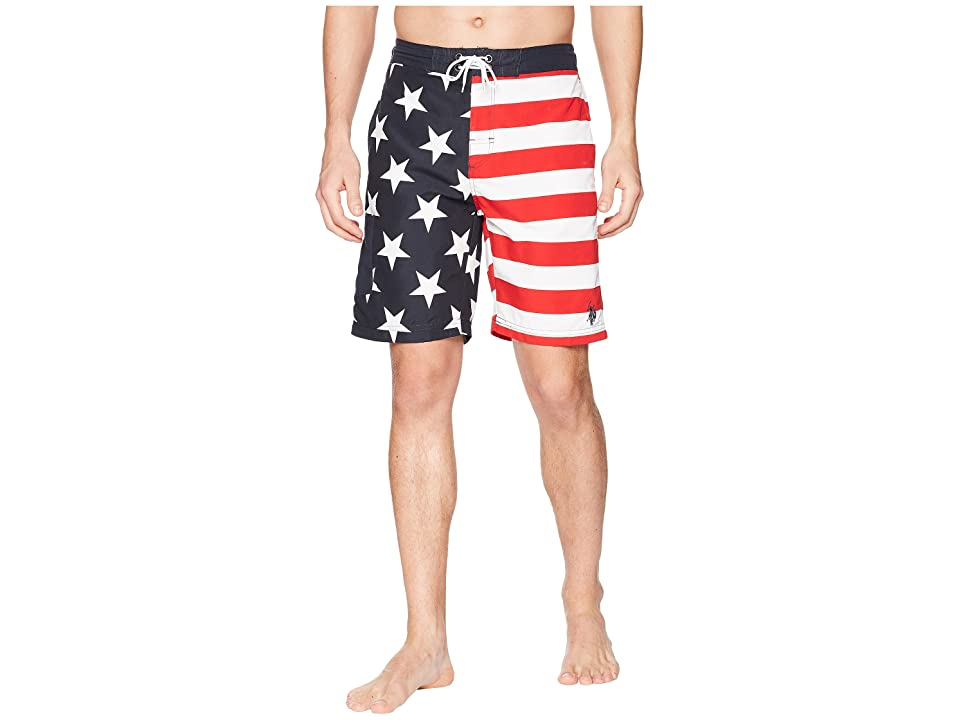U.S. POLO ASSN. 9 American Flag Swim Shorts (Classic Navy) Men