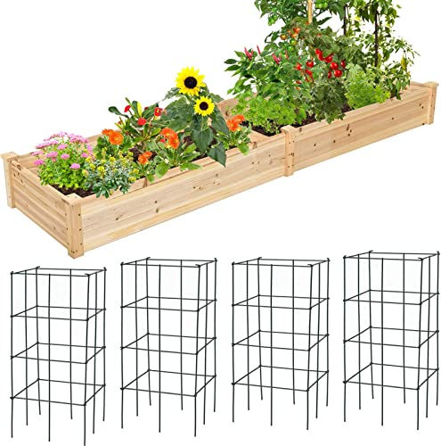 popular Giantex Raised Garden Bed with popular 4 Plant Cages & Support, Wood Planter Box and Metal Tomato High Stakes, lowest Vegetable Flowers Raising & Growing Bed for Patio Lawn and Garden sale