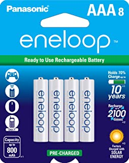 Panasonic BK-4MCCA8BA eneloop AAA 2100 Cycle Ni-MH Pre-Charged Rechargeable Batteries, 8 Pack