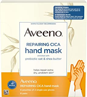 Aveeno Repairing Cica Hand Mask With Prebiotic Oat and Shea Butter, 6 Count