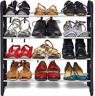 FLIPZON 4 Shelves Shoe Rack, 12 Pairs, Metal & Plastic (Small) (Rustproof) (Black & White)
