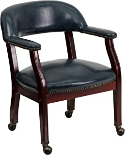 Flash Furniture Navy Vinyl Luxurious Conference Chair with Accent Nail Trim and Casters