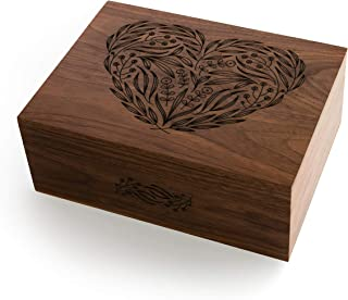 Floral Heart Laser Cut Wood Keepsake Box (Wedding Gift/Baby Shower Gift/Love/Mother's Day Gift / 5 Year Anniversary/Heirloom/Decorative/Handmade)