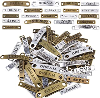Jdesun 80 Pieces Inspiration Words Connector, 20 Styles Letters Charms Connector Beads Pendants for DIY Necklace Bracelet