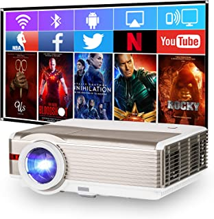 1080P Supported Video Projector with WiFi, Upgrade 5000 Lumen Home Cinema Projector with Android OS, Bluetooth, Compatible...