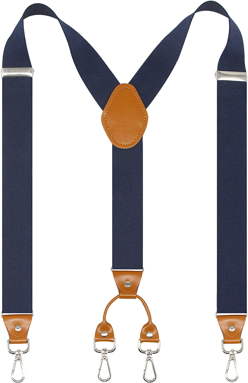 Doloise Men's Suspender Wide Adjustable and Elastic Braces Y Shape with Very Strong Hooks-Heavy Duty