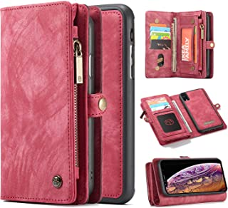 iPhone XR 手机壳,Harsel 11 卡槽【磁扣】可拆卸复古皮革钱包钱包式手机套拉链口袋便携保护套硬质保护套苹果 iPhone XR 红色