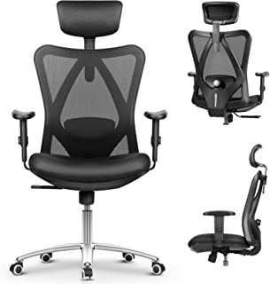 mfavour Siège Confortable Chaise de Bureau Fauteuil Ergonomique avec Accoudoirs Réglable Hauteur Appui-tête Ajustable Doss...