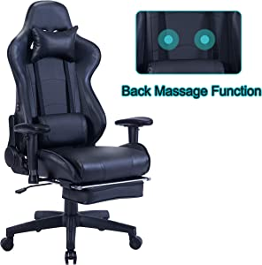 HEALGEN Back Massage Gaming Chair with Footrest,PC Computer Video Game Racing Gamer Chair High Back Reclining Executive Ergonomic Desk Office Chair with Headrest Lumbar Support Cushion GM002(Black)