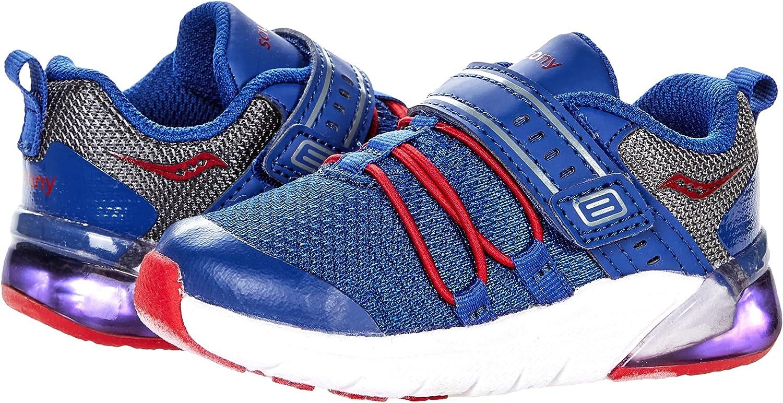 Saucony Flash Glow 2.0 JR Running Shoe, Navy/RED/Grey, 6 US Unisex Little Kid