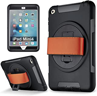 iPad Mini 4 case, Samcore Shockproof 360 Degree Rotating Leather Handle Grip and Kickstand case with Built in HD Screen Protector for iPad Mini 4 [Black]