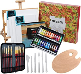 MEEDEN 46 Pcs Oil Painting Set with Beech Wood Tabletop Easel,12MLX24Oil Paint Tubes with Paint Brushes Set,Palette Knife ...