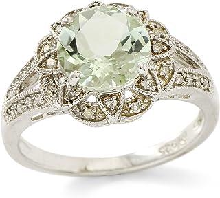 Glamouresq Sterling Silver 14k White Gold Plated Genuine Round Cut Green Quartz & Genuine Diamond Women's Ring, Size 6.5
