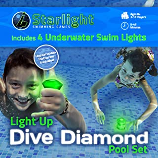 Starlight Swimming Dive Diamond Pool Set: Light Up, Glow-in-The-Dark Underwater Diving Game Pool Toys