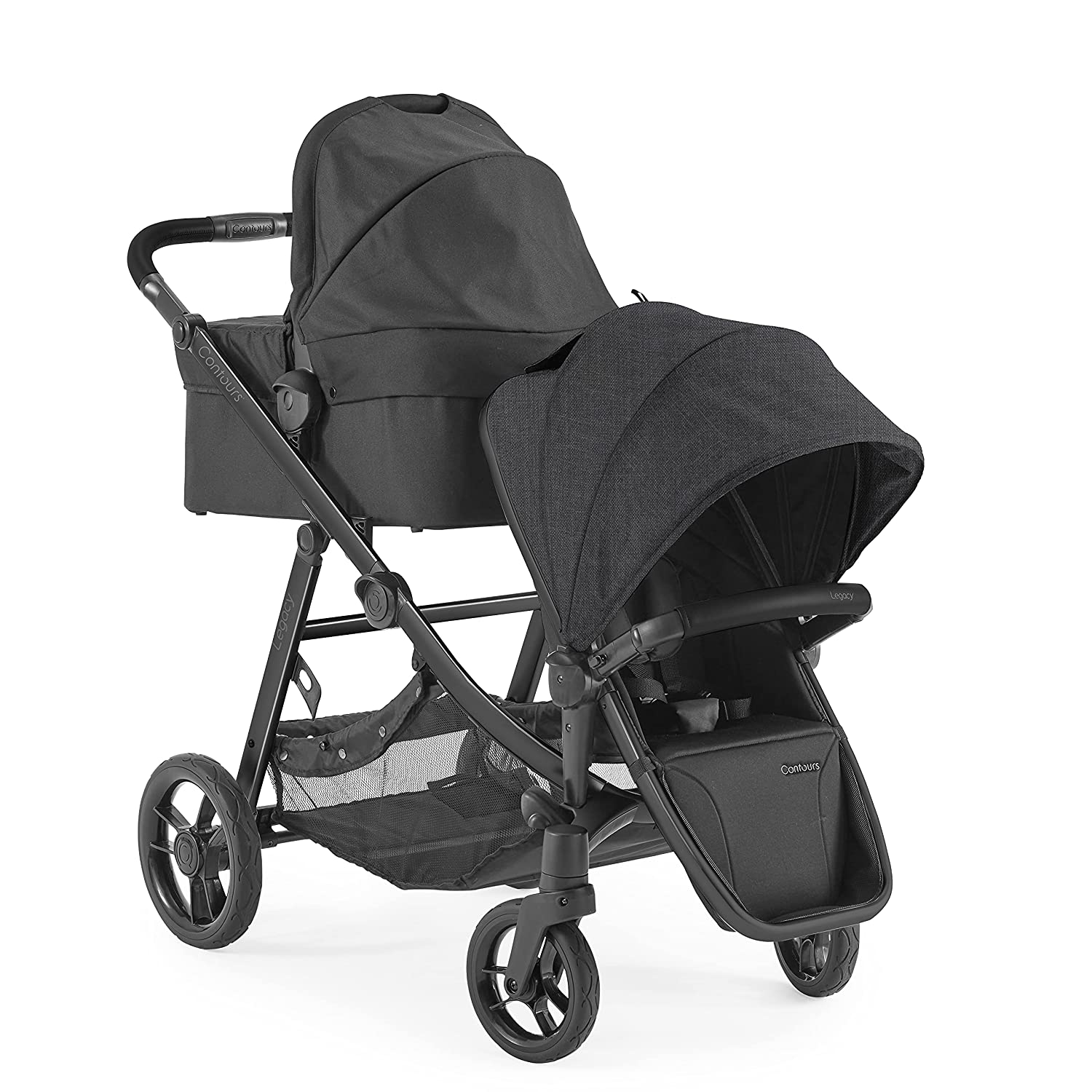 Contours - Legacy - Single to Double Convertible Stroller - Carbon
