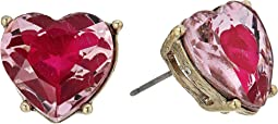 Betsey Johnson - Pink and Gold Heart Stud Earrings