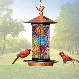 XDW-GIFTS 2020 Newest Solar Wild Bird Feeder Hanging for Garden Yard Outside Decoration, Waterproof Mosaic Lantern Design ...