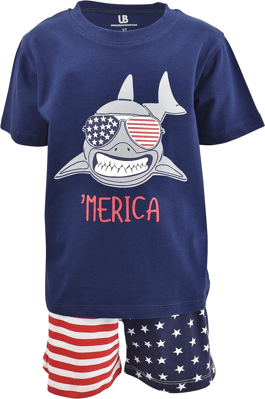 Unique Baby Boys Shark Merica 4th of July Patriotic Short Set