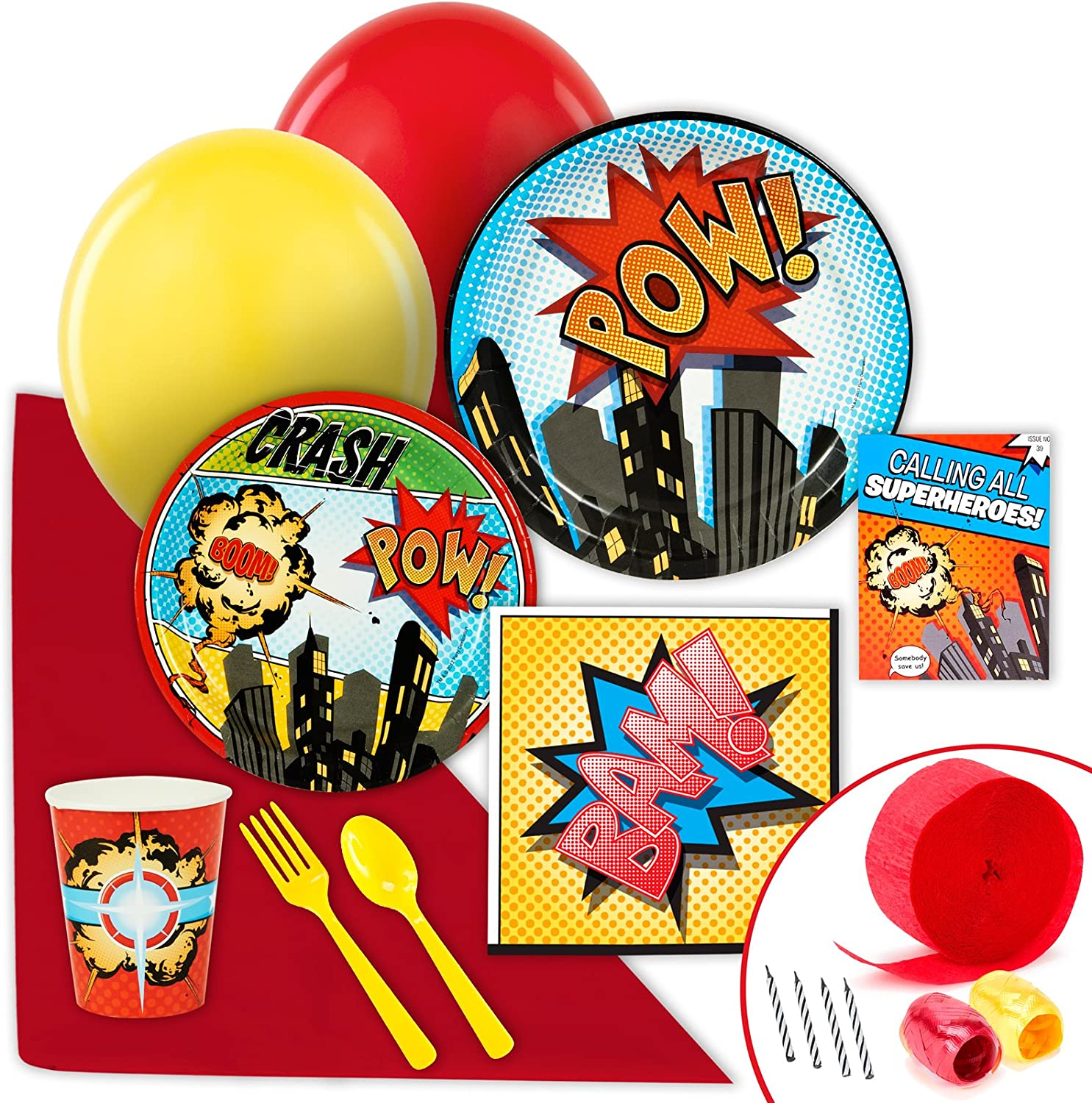 Superhero Comics Party Supplies  Value Party Pack