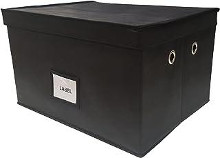 Neusu Boîte De Rangement Pliable (Noir avec poignées, 60 litres 50x40x30cm)
