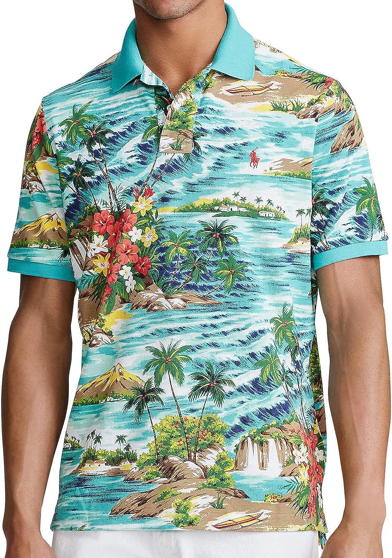 Polo Ralph Lauren Mens Aqua Hawaiian Tropical Print Polo Shirt