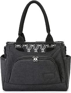 AmHoo Reusable Lunch Bag Waterproof Cooler Bag Insulated Lunch Box Picnic Women Top Handle Satchel Handbags Stylish Adult 10L Lunch tote Bag for Work,School-Best YKK Zipper,Black