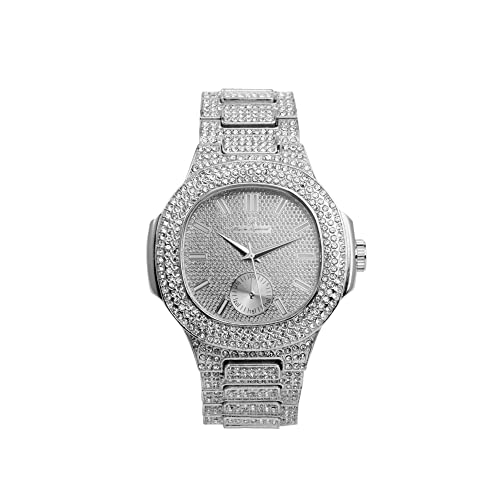 Bling-ed Out Oblong Case Metal Mens Watch - 8475 - Silver/Silver