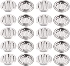 KONIBN Air Vents 20 Pack 2.08 inch(53mm) Circular Soffit Vent Stainless Steel Round Vent Mesh Hole Louver for Kitchen, Bathroom, Cabinet, Wardrobe and Shoe Cabinet