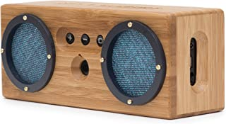 Bongo Bamboo Retro Bluetooth Speakers - Portable Wireless Handcrafted Wood Speaker for Travel, Home, Outdoors | Dual Passive Subwoofer, 15 Hour Battery - Vintage Blue