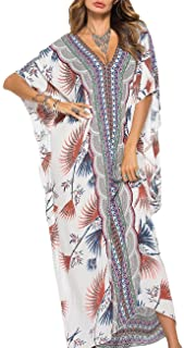 Bsubseach Women Bathing Suit Cover Up Ethnic Print Kaftan Beach Maxi Dresses