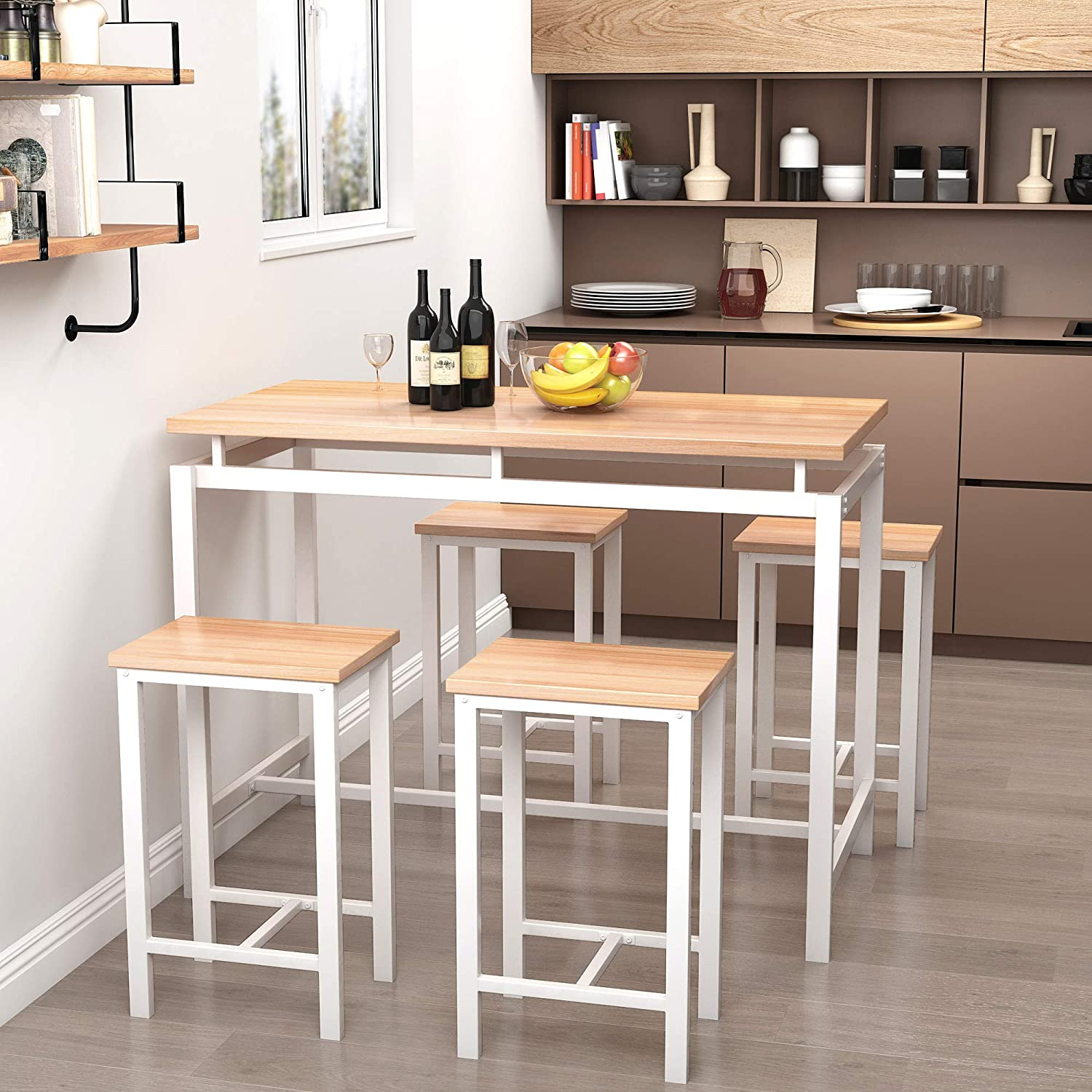 Recaceik 9 PCS Dining Table Set, Modern Kitchen Table and Chairs for 9,  Wood Pub Bar Table Set Perfect for Breakfast Nook, Small Space Living Room