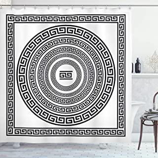 Ambesonne Greek Key Shower Curtain, Traditional Meander Border Set with Square and Circles Antique Frame Pack, Cloth Fabric Bathroom Decor Set with Hooks, 70