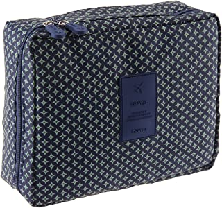 MakeUp Bag Travel Cosmetic Storage Hanging Organizer Folding Pouch Toiletry (Dark Blue)