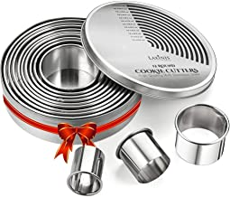 Round Cookie Biscuit Cutter Set, 12 Graduated Circle Pastry Cutters, Heavy Duty Commercial Grade 18/8 304 Stainless Steel ...