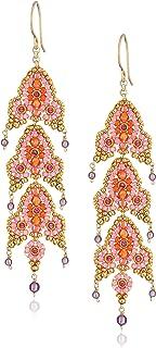 Miguel Ases Triple Fleur De Lis Dangle Swarovski Drop Earrings