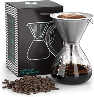 Coffee Gator Pour Over Brewer – Unlock More Flavor with a Paperless Stainless Steel Filter and BPA-Free Glass Carafe - Hand-Drip Coffee Maker - 27 Ounce